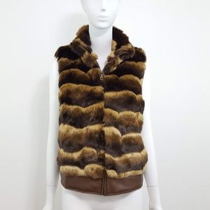 {Chico's} Brown Faux Fur Zip Up Vest 2/L